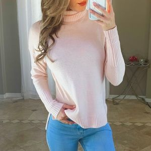 J. Crew Wool Light Pink Relaxed Turtleneck Sweater